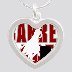 BARREL RACER [maroon] Silver Heart Necklace